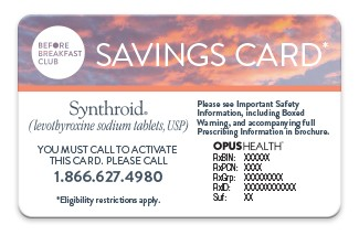 Synthroid Cost; co-pay card